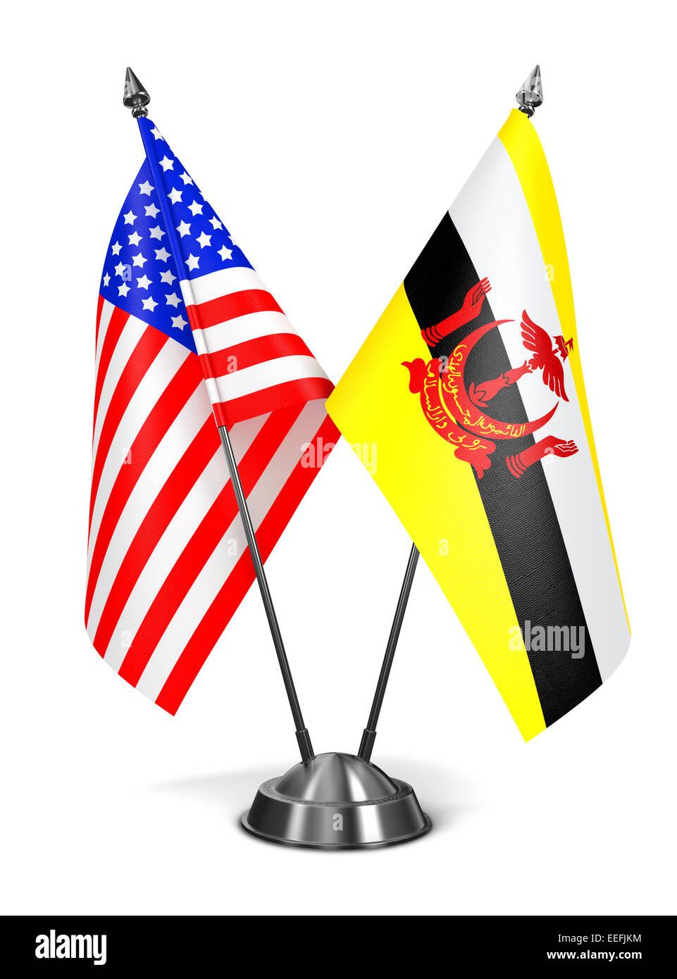 Stati Uniti d'America e del Brunei - Bandiere in miniatura. Immagini Stock