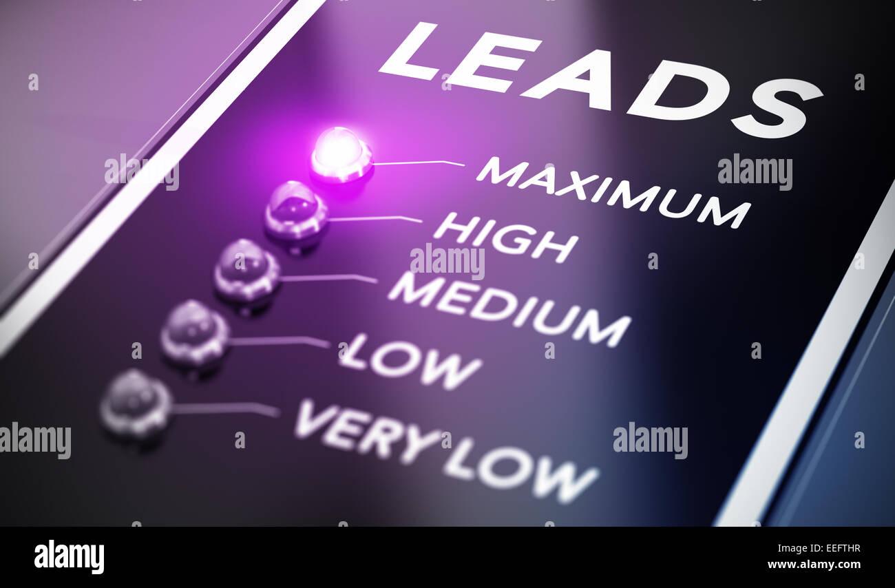 Generazione di lead concetto, illustrazione di internet marketing su sfondo nero con luce viola e effetto di sfocatura. Immagini Stock