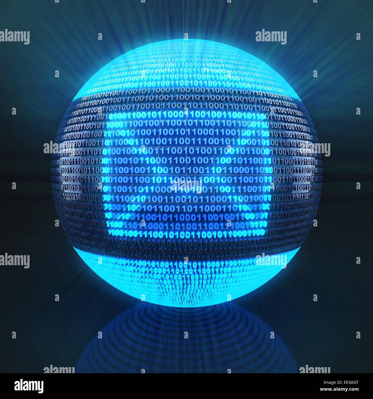 Simbolo di posta sul globo terrestre formato da codice binario Immagini Stock