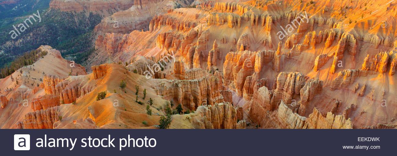 Vista di rotture del cedro al tramonto. Il Cedar Breaks National Monument, Utah Immagini Stock