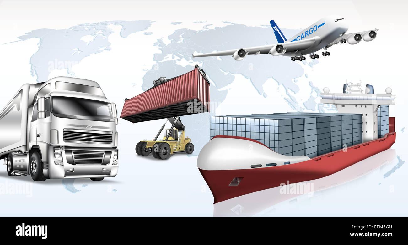 Vari mezzi di trasporto nella parte anteriore della mappa del mondo, illustrazione Immagini Stock