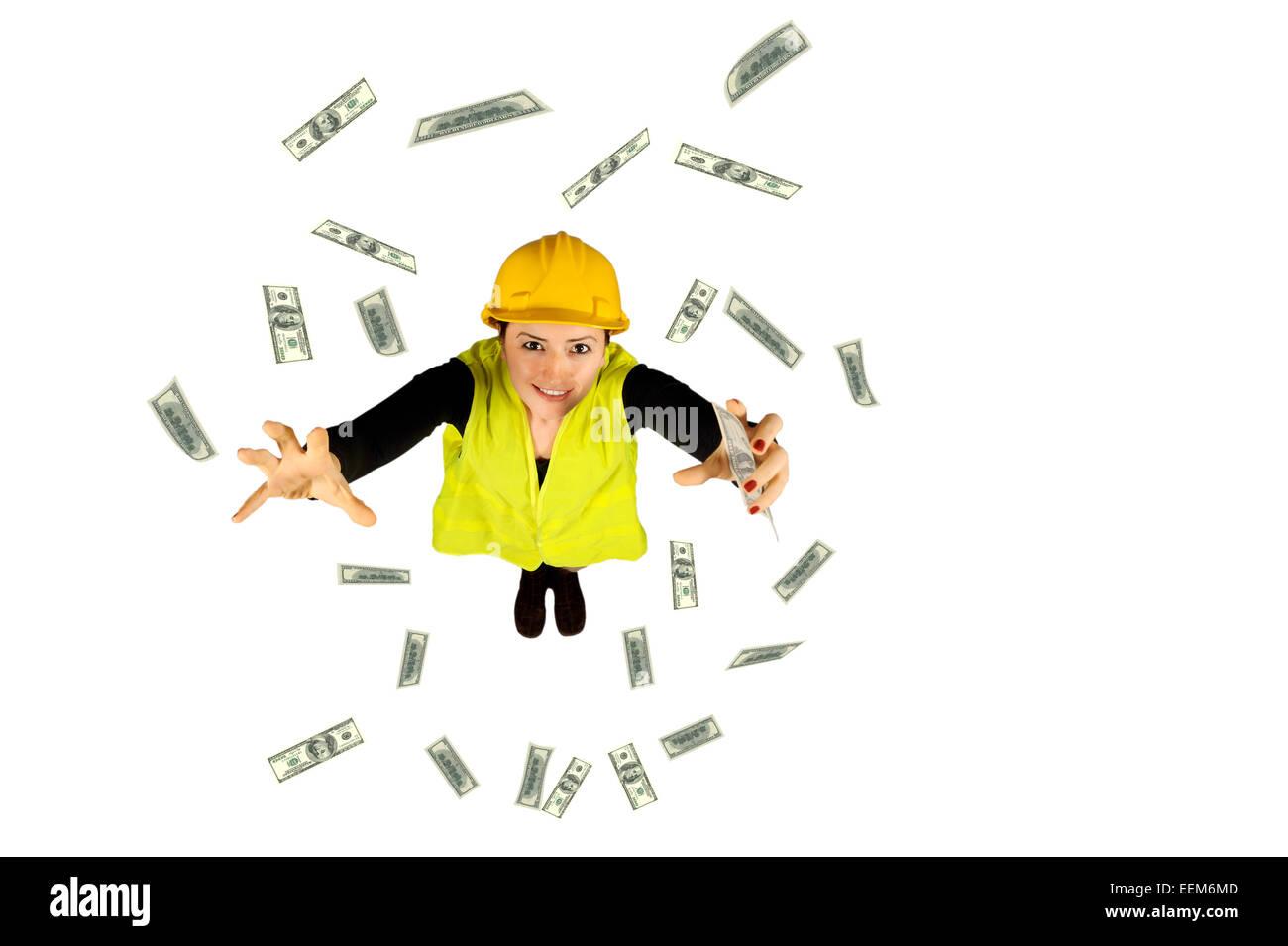 Collare blu dei salari dei lavoratori di denaro dollaro volanti isolati su sfondo bianco Immagini Stock