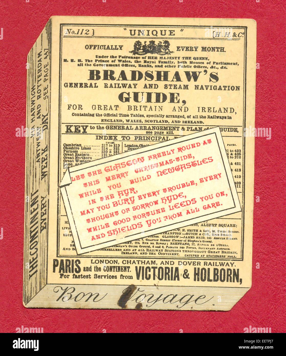 Victorian biglietto di auguri come Bradshaw generale della ferrovia a vapore e la guida di navigazione per la Gran Bretagna e l'Irlanda circa 1885 Foto Stock