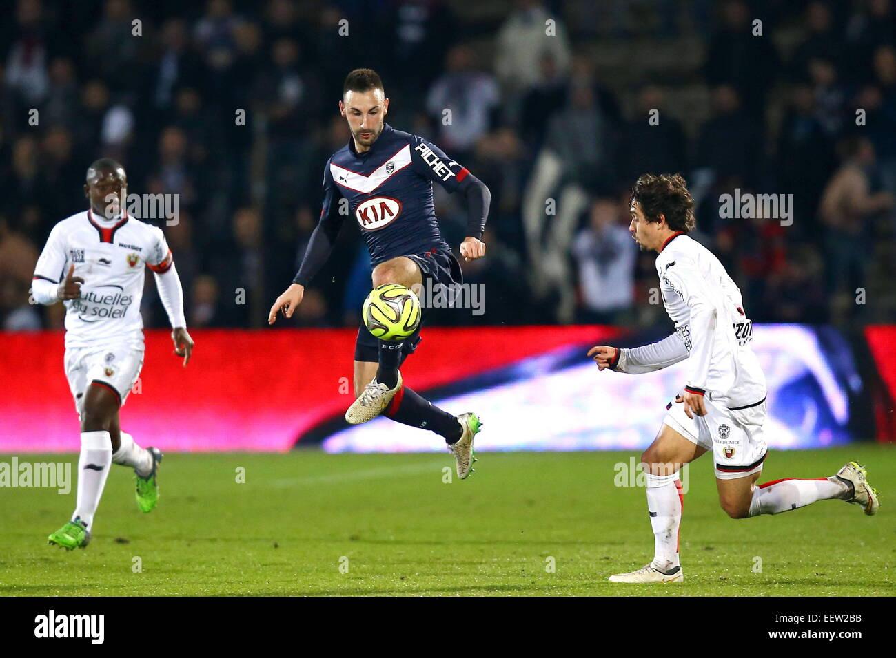 Diego Contento/Gregoire Puel - 16.01.2015 - Bordeaux/Nizza - 21e journee Ligue 1.Photo : Manuel Blondau/Icona Sport Immagini Stock