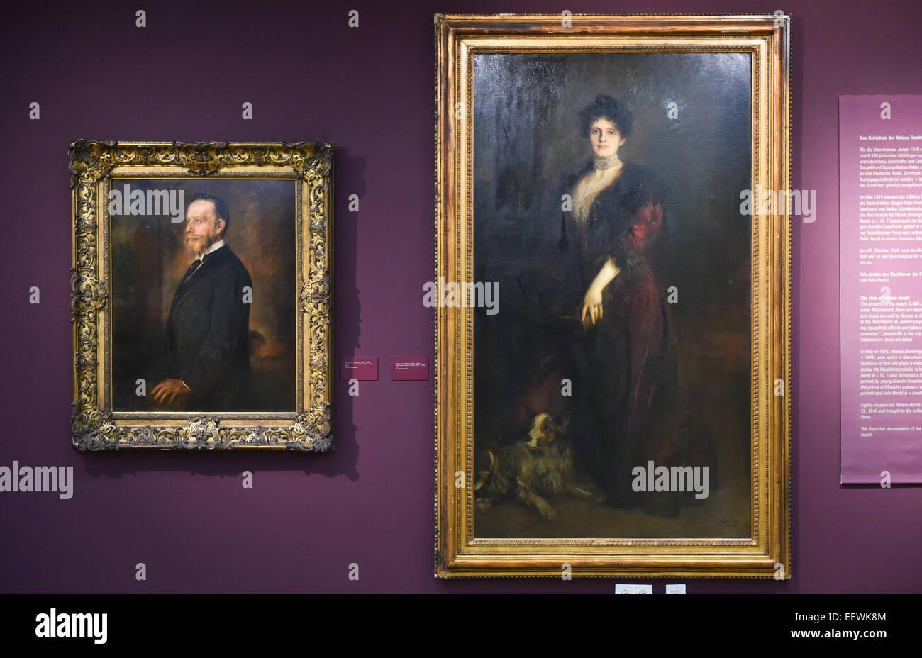 Mannheim, Germania. Il 22 gennaio, 2015. I due dipinti da Franz von Lenbach appendere al Reiss Engelhorn musei a Immagini Stock