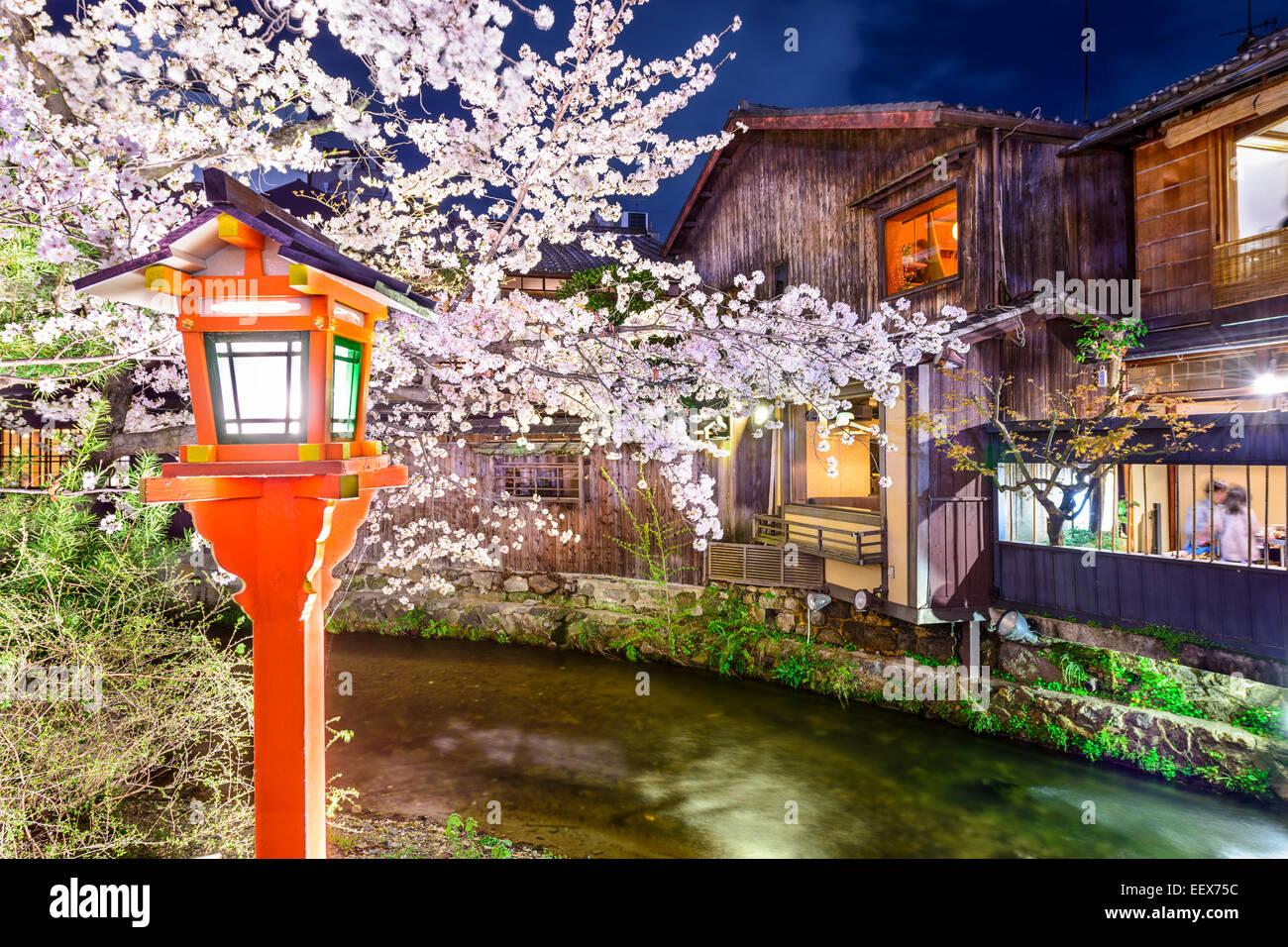 Kyoto, Giappone presso il Fiume Shirakawa nel quartiere di Gion durante la primavera la fioritura dei ciliegi stagione. Immagini Stock