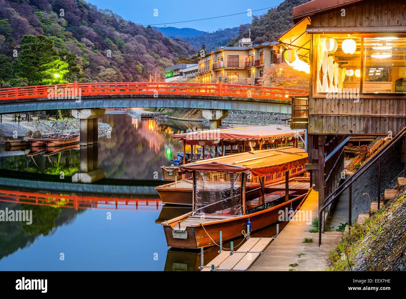 Uji, prefettura di Kyoto, Giappone sul fiume Ujigawa. Immagini Stock