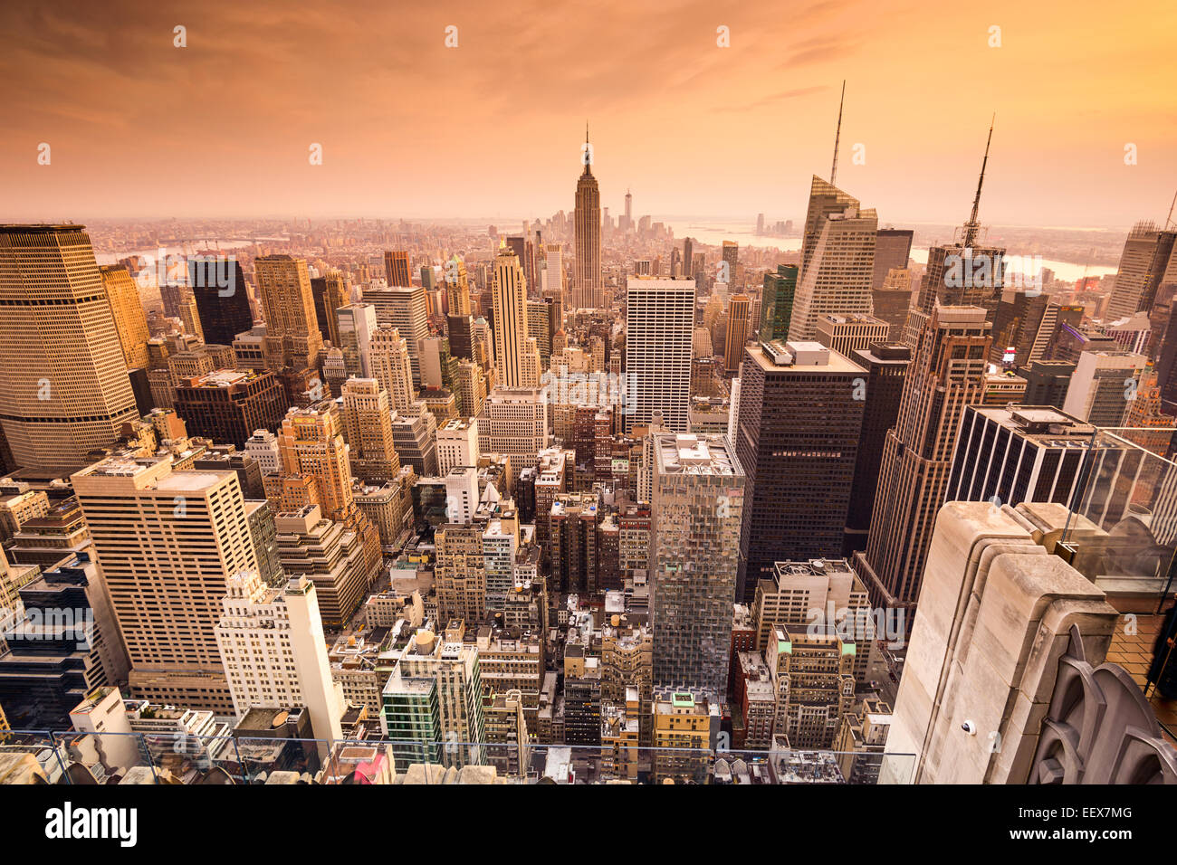 La città di New York, Stati Uniti d'America al di sopra dello skyline di Manhattan. Immagini Stock