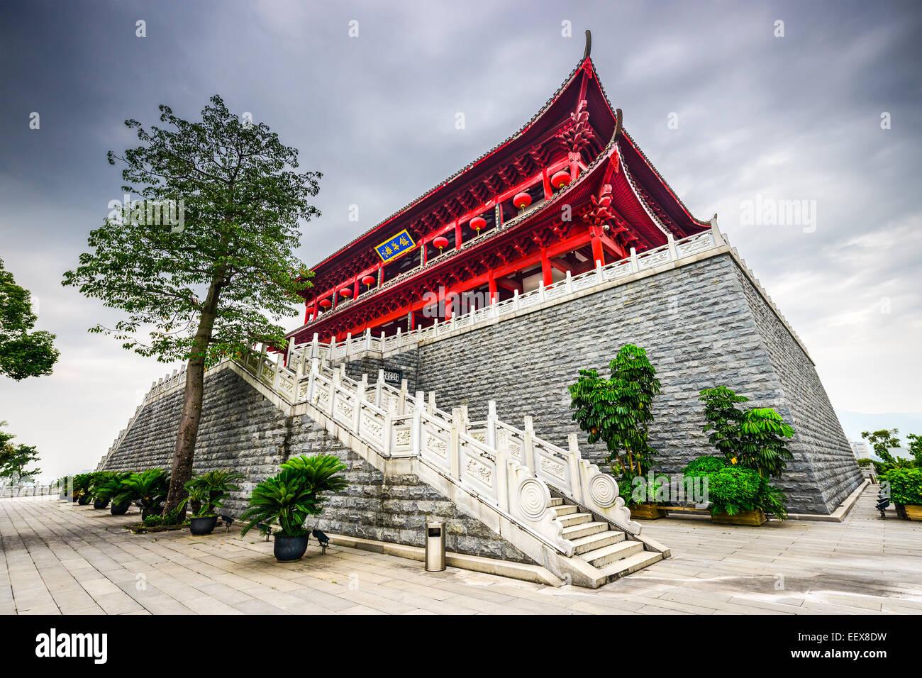 Fuzhou, Cina presso la storica Torre Zhenhai. Immagini Stock