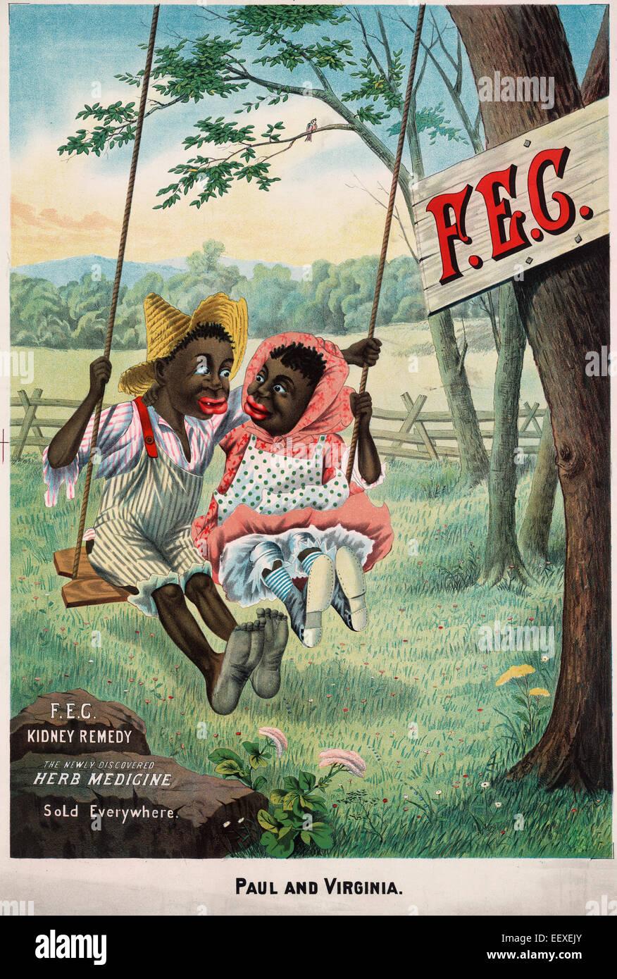 Rene F.E.G. Remedy. Le scoperte di recente la medicina di erbe. Venduti ovunque. Sommario: medicina brevetto poster Foto Stock