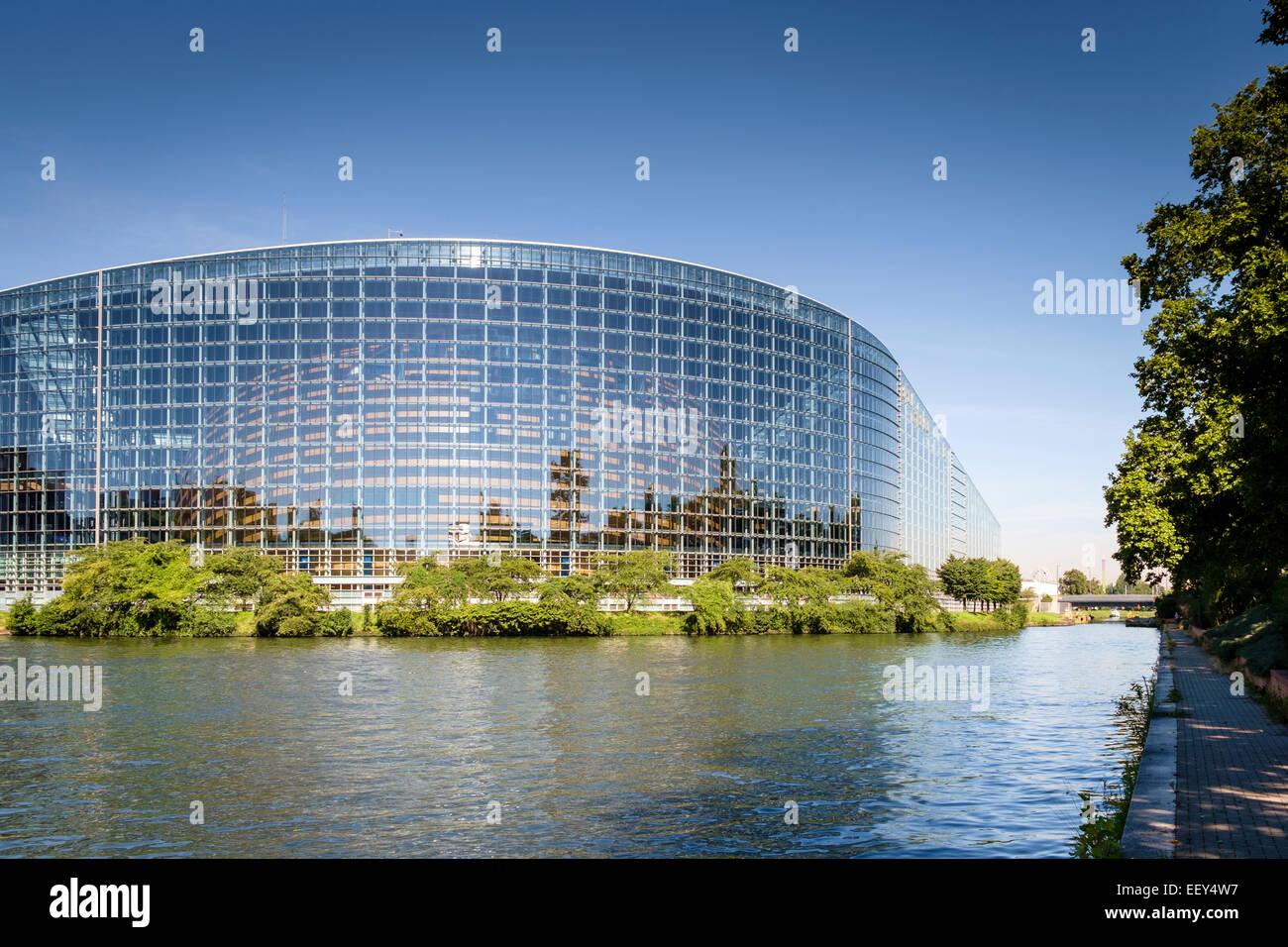 Architettura moderna, Francia - Edificio del Parlamento europeo a Strasburgo, Francia, Europa Immagini Stock