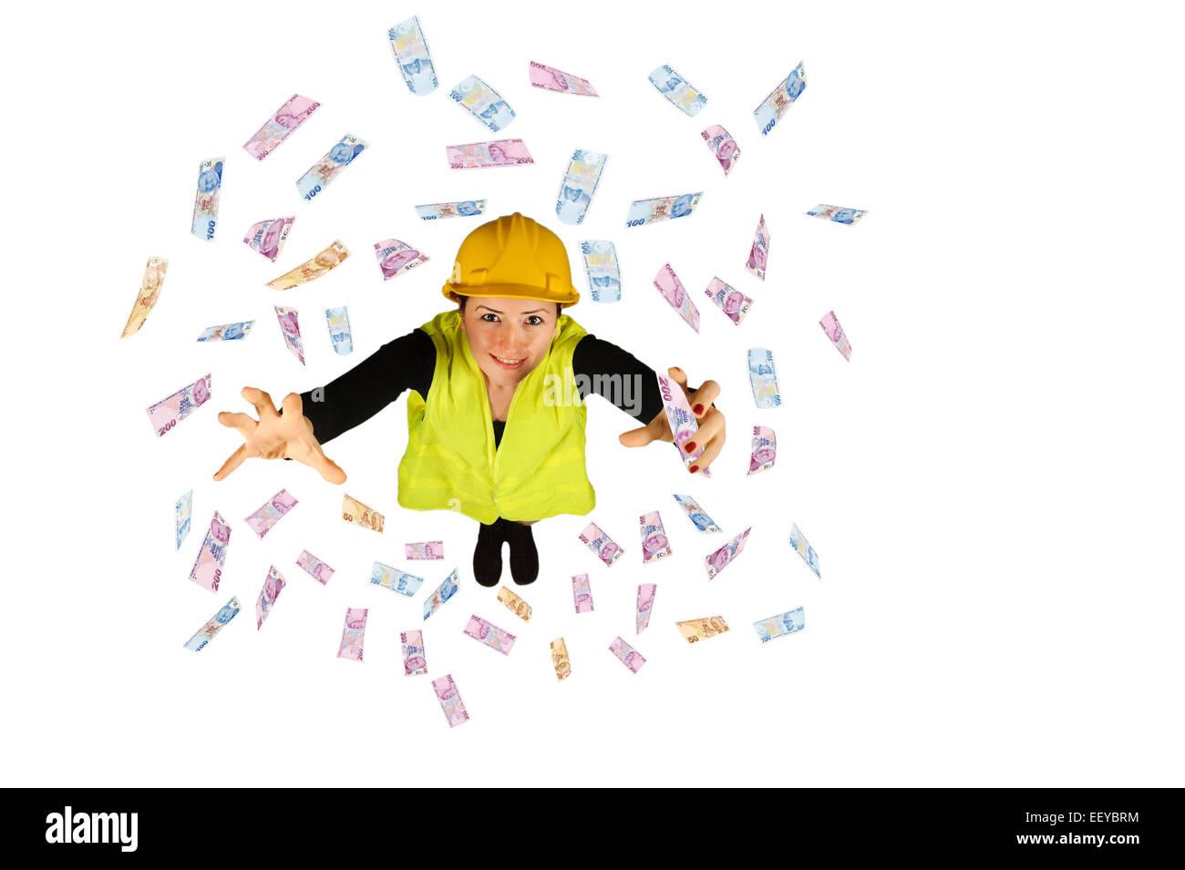 Collare blu dei salari dei lavoratori denaro battenti lira turca isolati su sfondo bianco Immagini Stock