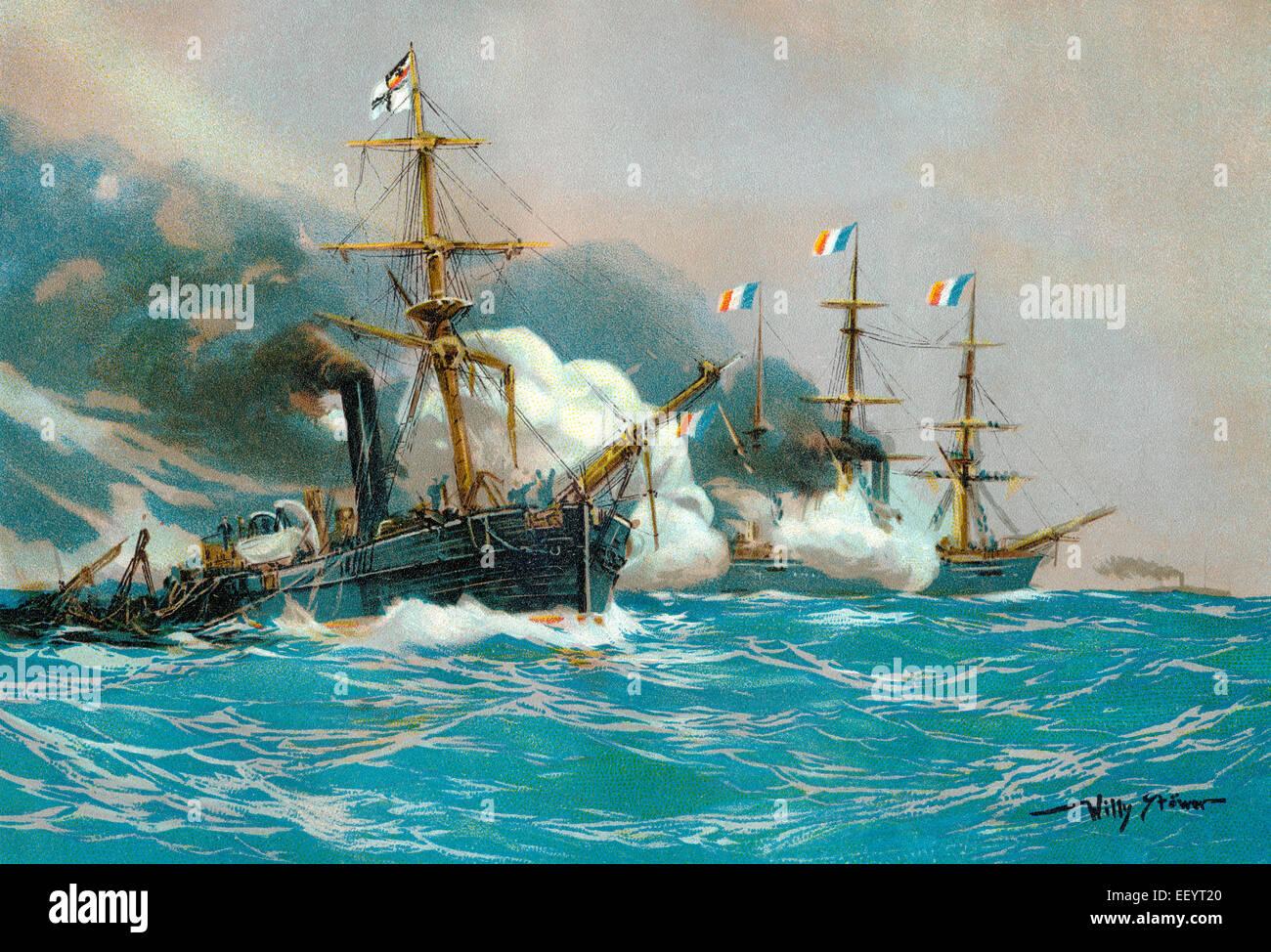 Pittura storica di Willy Stöwer, battaglia navale del vapore cannoniere della Chamaeleon-classe Meteor, 23 Immagini Stock