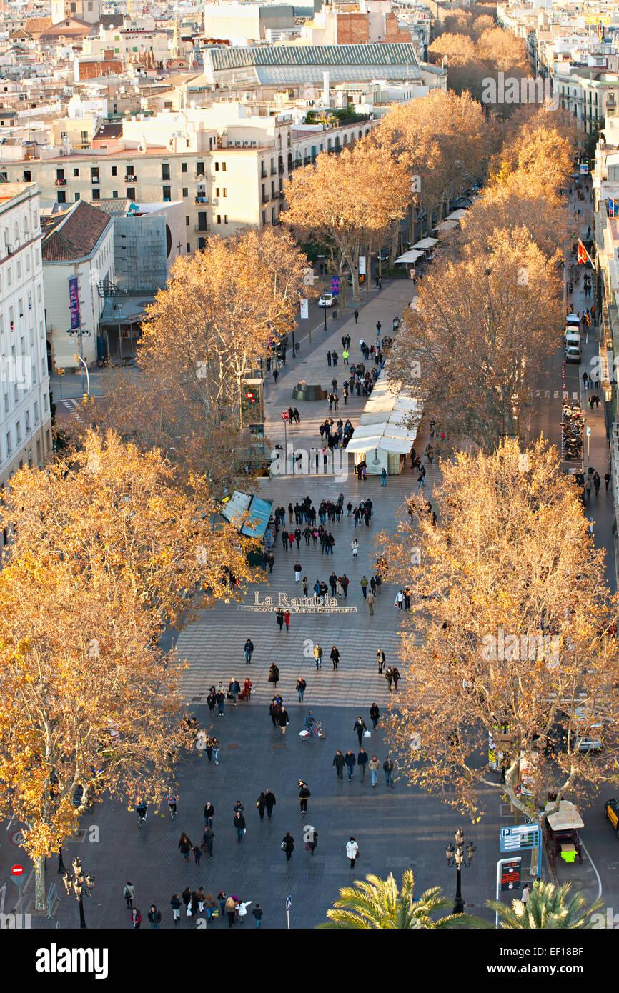 Vista aerea di La Rambla di Barcellona, Spagna Immagini Stock