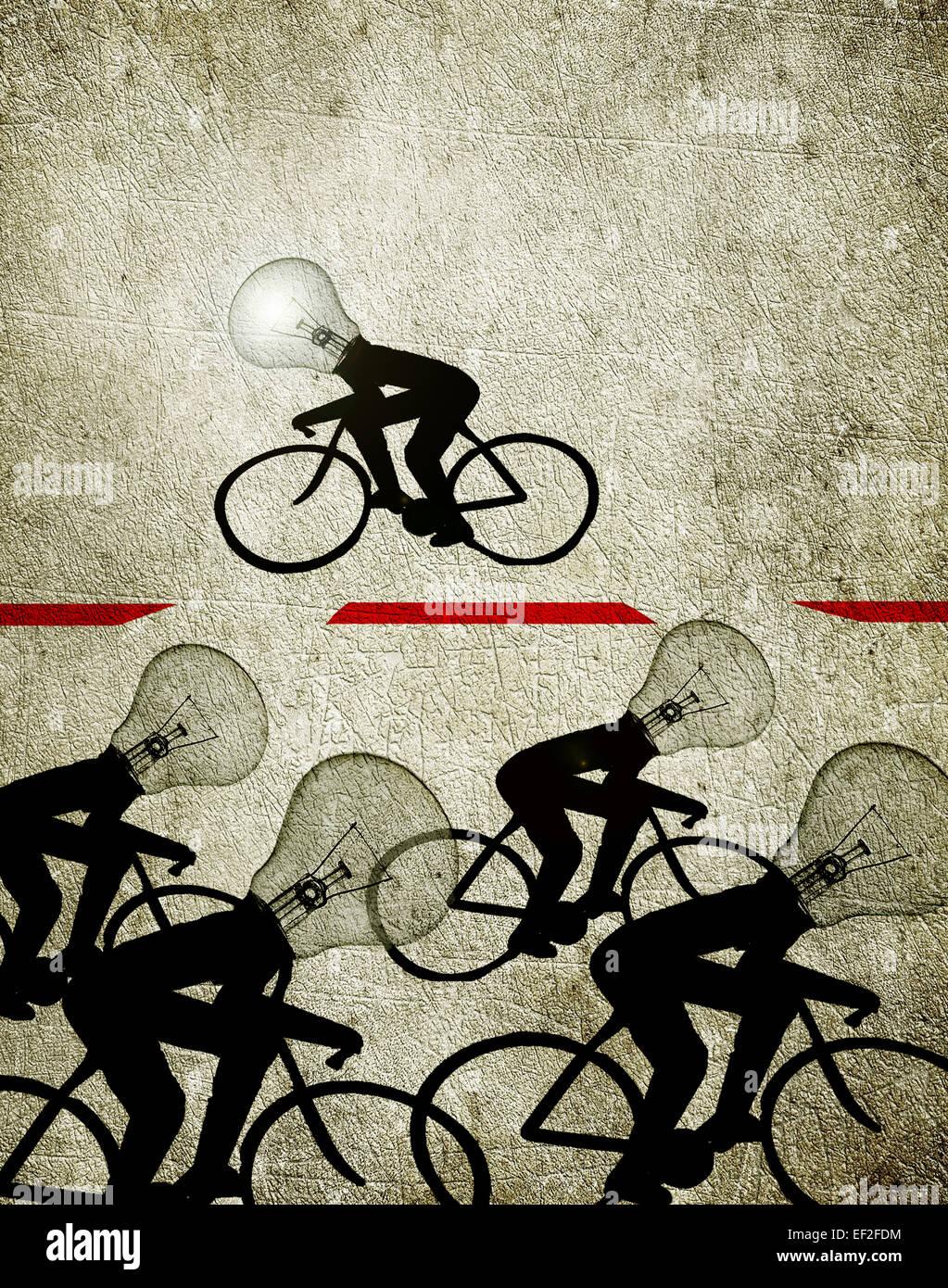 I ciclisti con lampadina capi illustrazione il concetto di creatività Immagini Stock