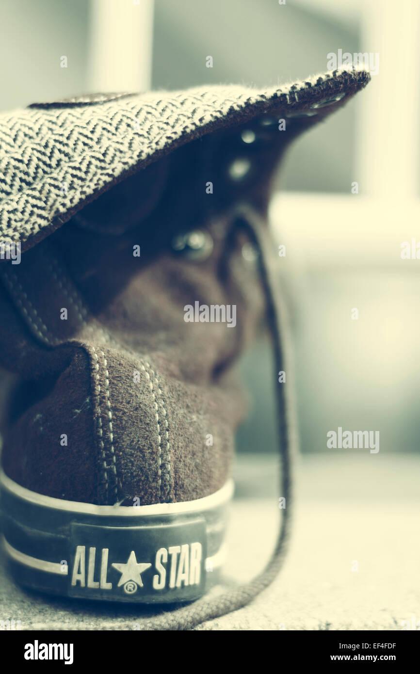 All star converse scarpa, vista posteriore Immagini Stock