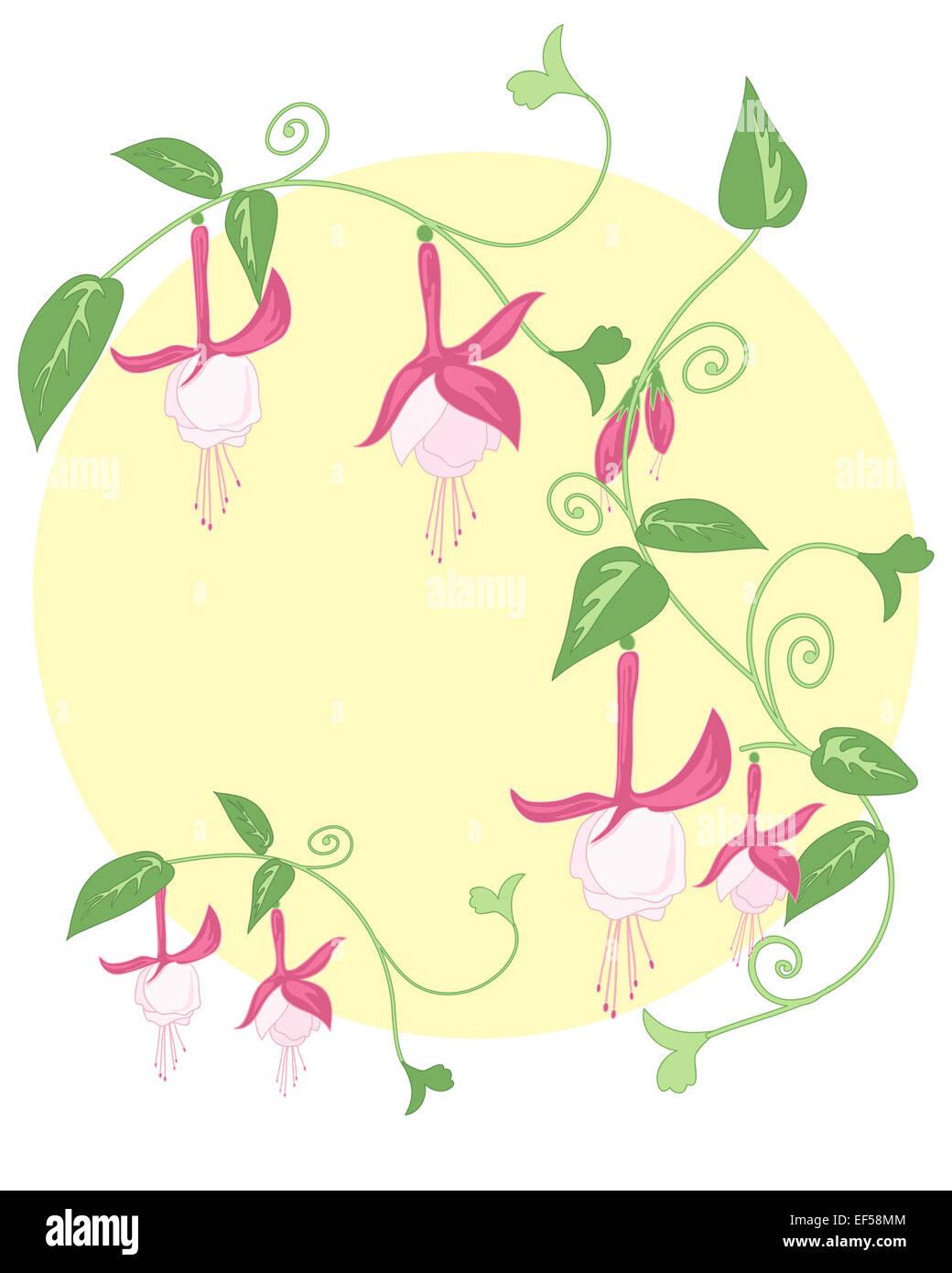 Una Illustrazione Di Un Disegno Floreale Stilizzato Con Fogliame