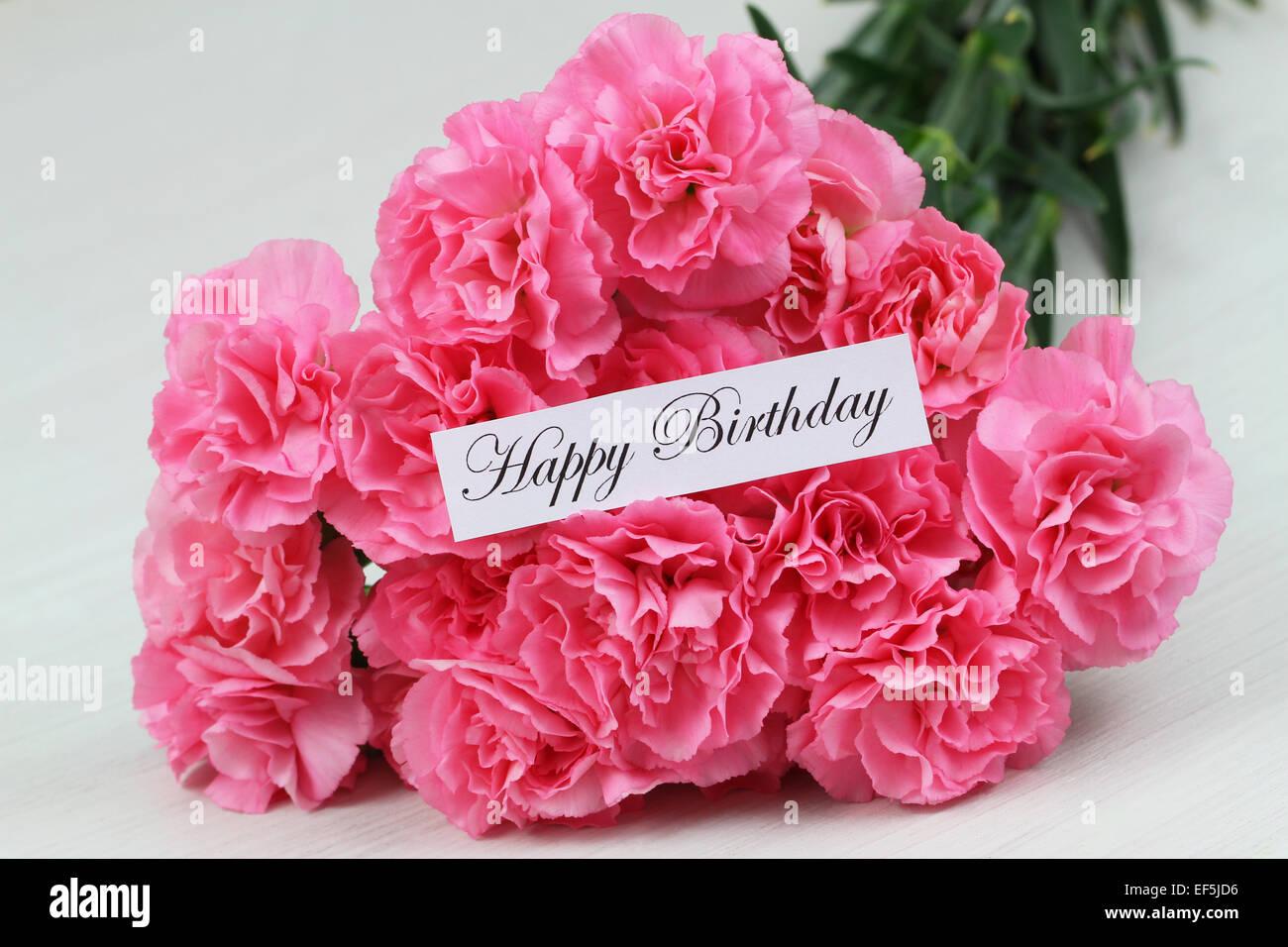 Buon Compleanno Card Con Rosa Fiori Di Garofano Foto Immagine
