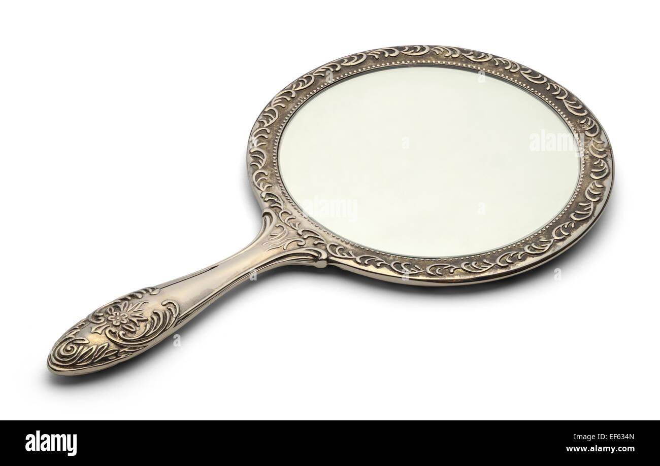 Lo specchio in appoggio sulla superficie isolata su sfondo bianco. Immagini Stock