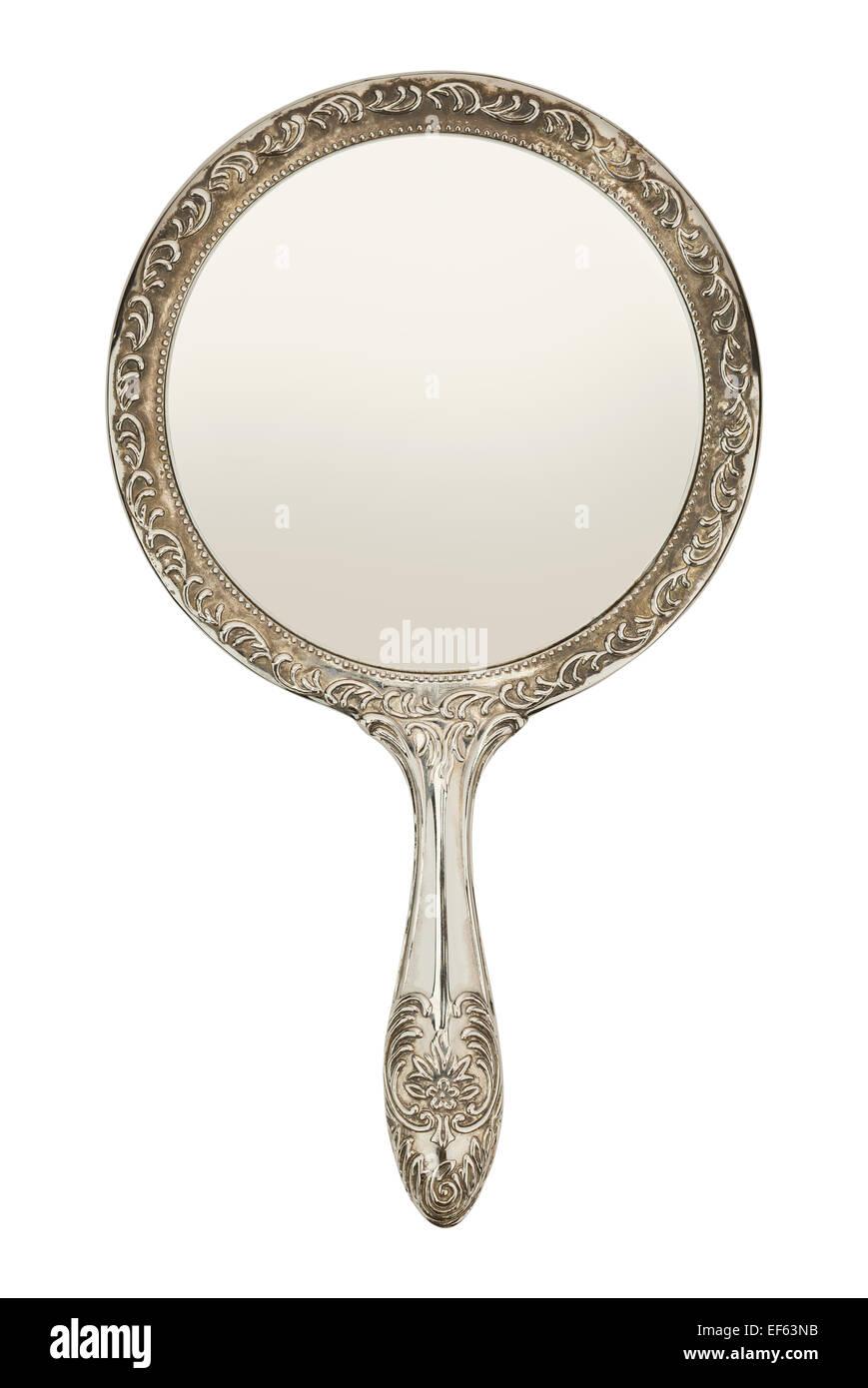 Argento Specchio a mano vista frontale isolato su sfondo bianco. Immagini Stock