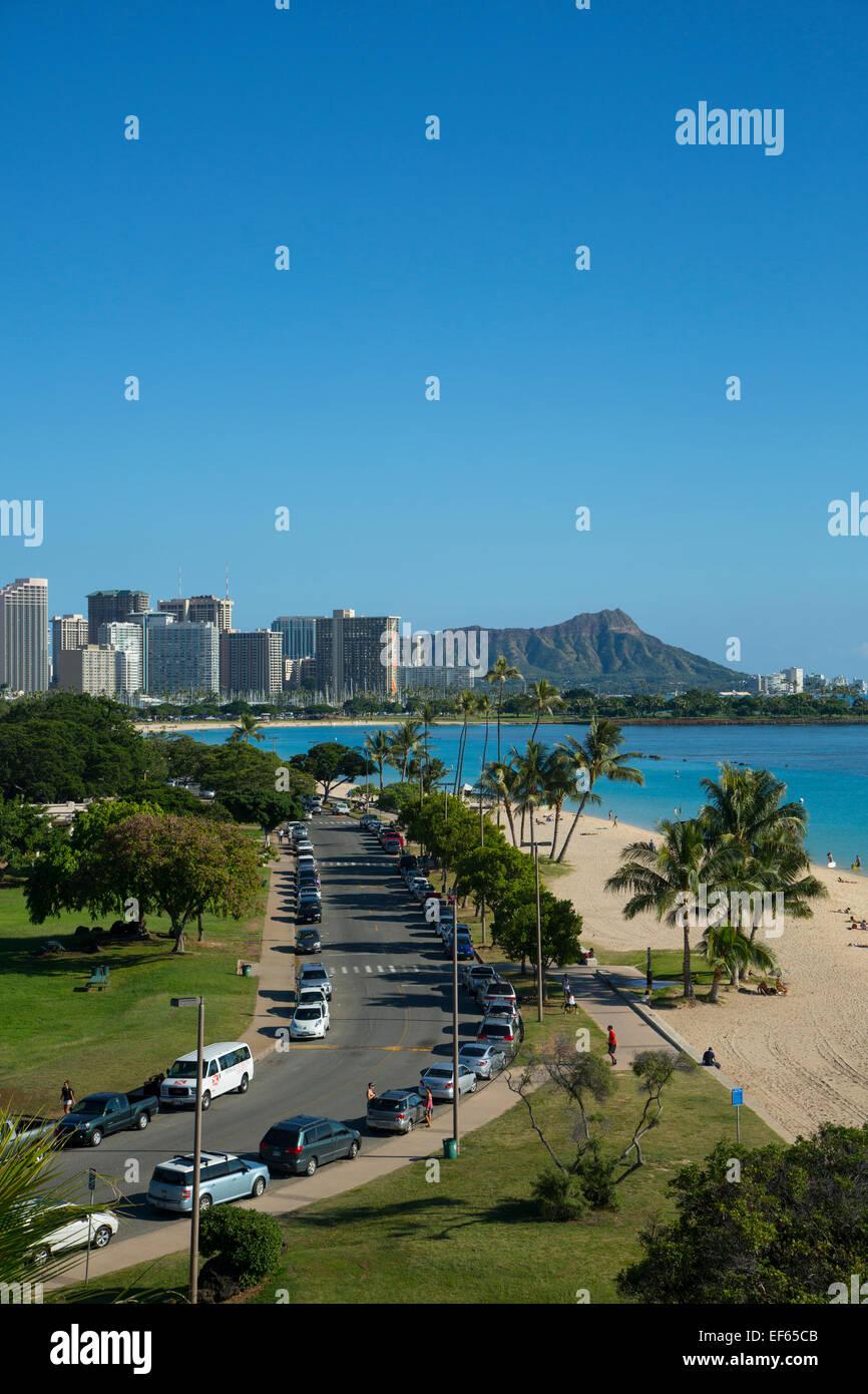 L'Ala Moana Beach Park, Honolulu Oahu, Hawaii Immagini Stock