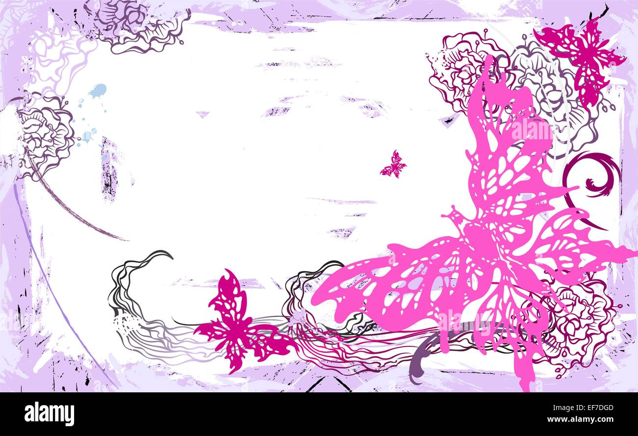 Vector Grunge Pittorica Con Sfondo Bianco E Rosa Con Farfalle E