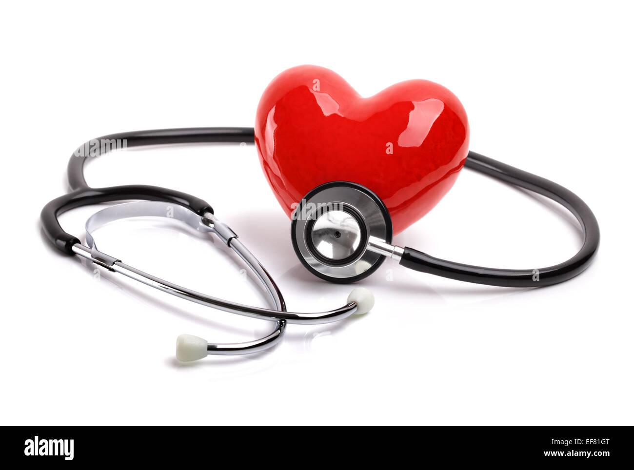 Lo stetoscopio e il cuore Immagini Stock