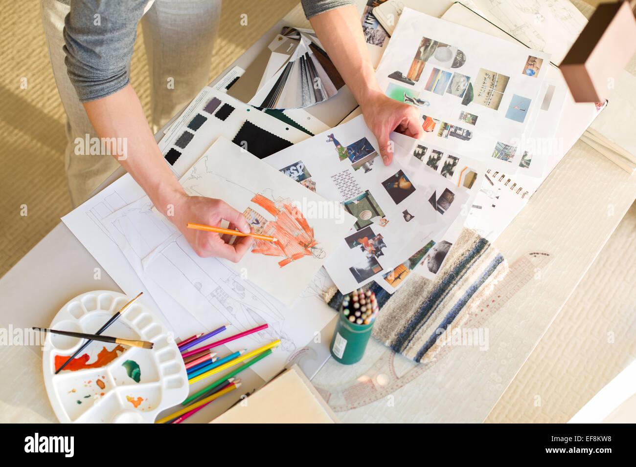 Fashion designer schizzo di disegno Immagini Stock