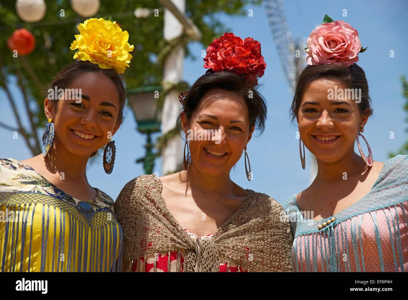 Ballerini di Flamenco a Feria de Abril di Siviglia, Andalucía, Spagna Foto Stock