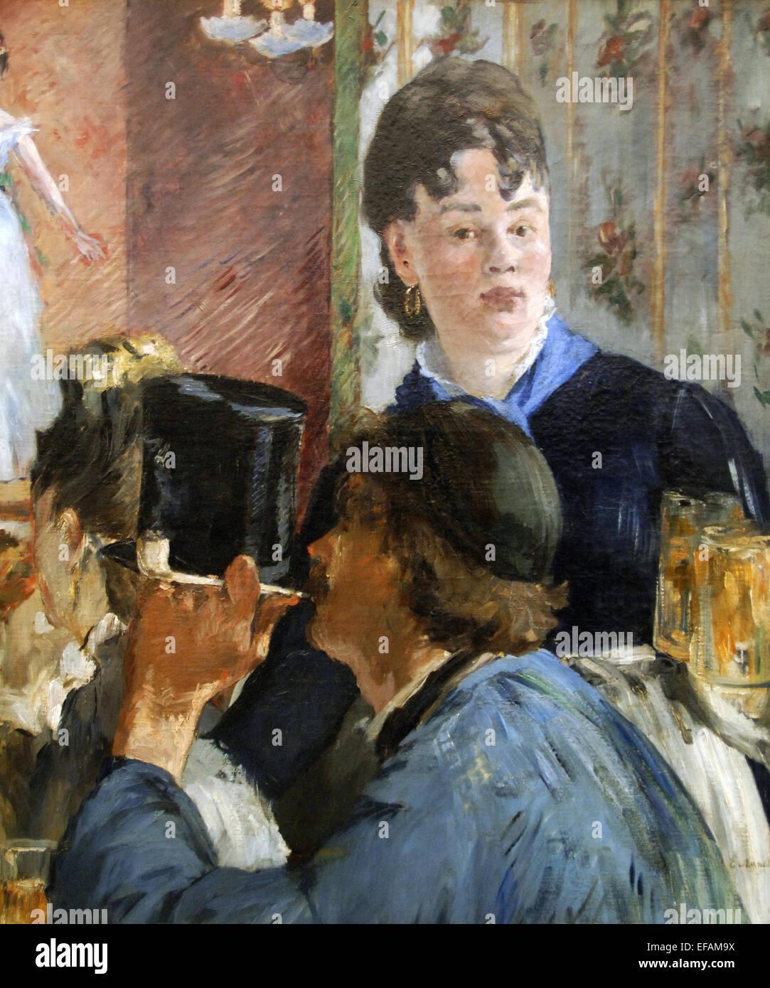 Edouard Manet (1832-1883). Pittore Francese. La birra cameriera, 1879. Olio su tela. Impressionismo. Il Museo d' Immagini Stock