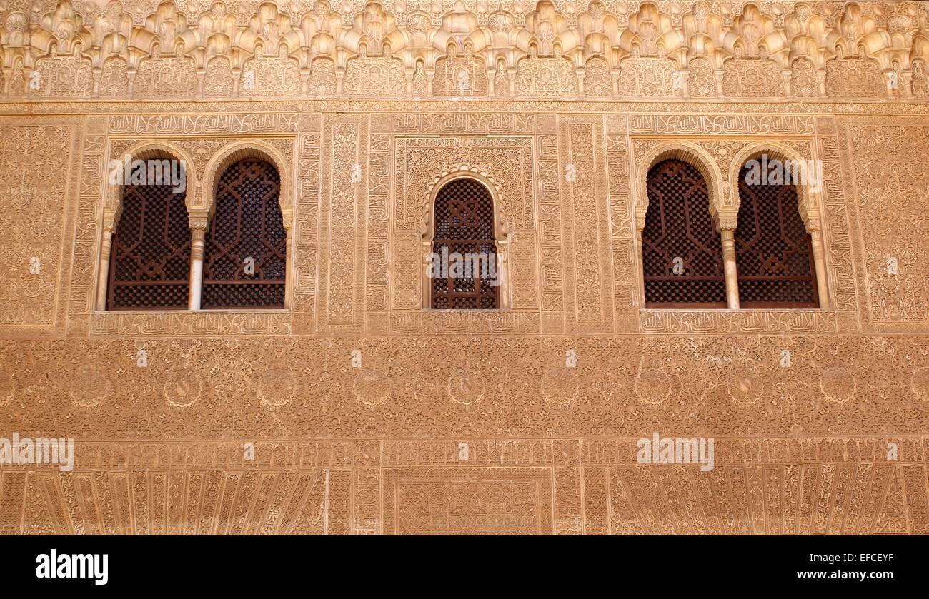 Finestre e aperture nello stile di architettura islamica Immagini Stock