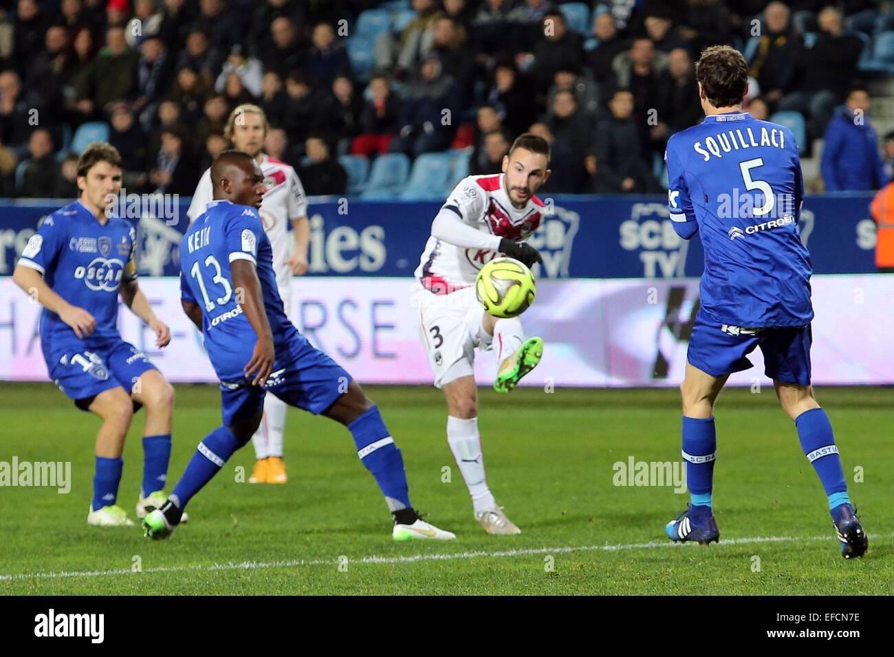Diego contento - 24.01.2015 - Bastia/Bordeaux - 22eme journee de Ligue1.Foto : Michel Maestracci/Icona Sport.Caption Immagini Stock