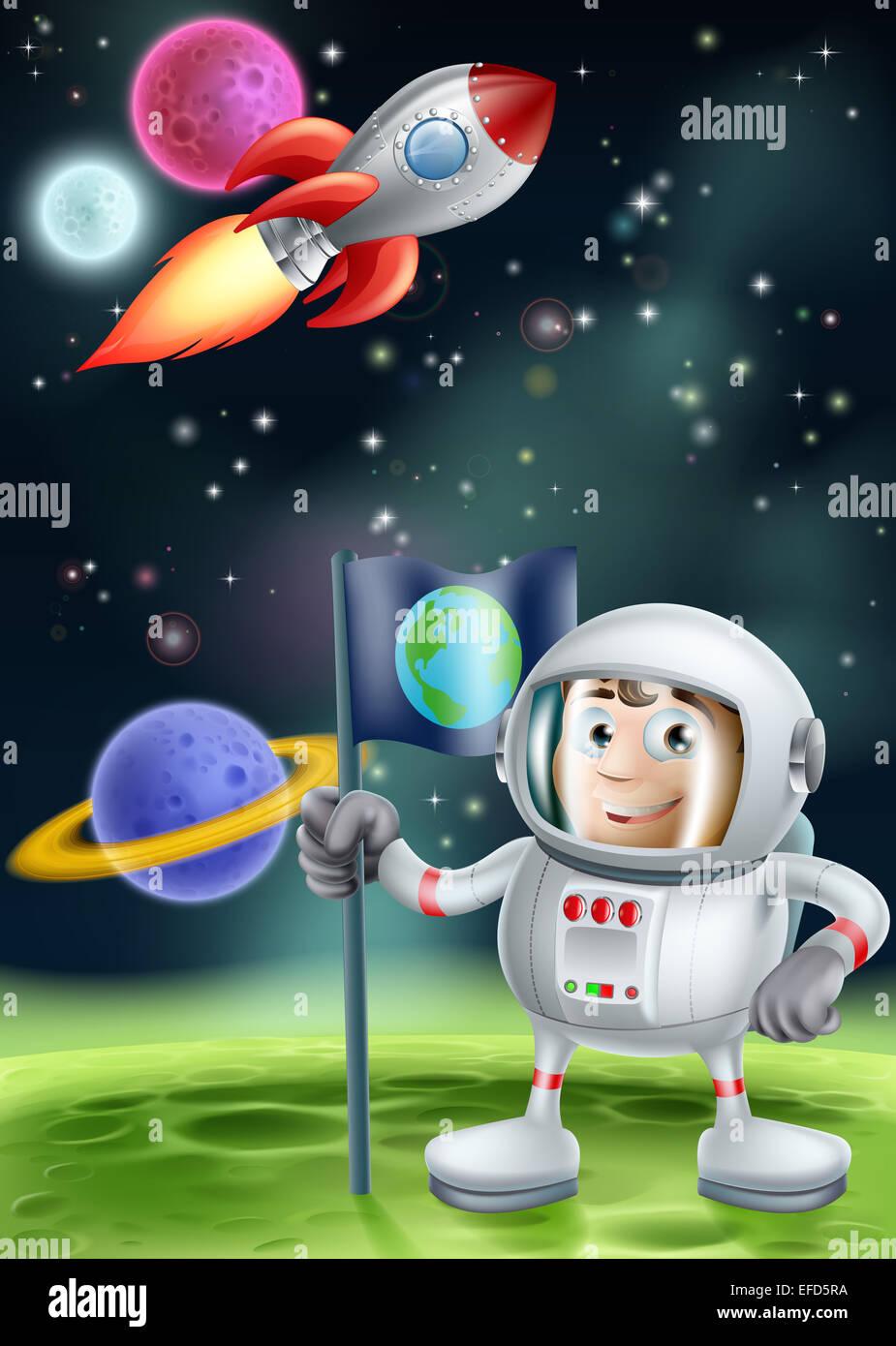 Cartoon illustrazione di un astronauta piantare una bandiera su un
