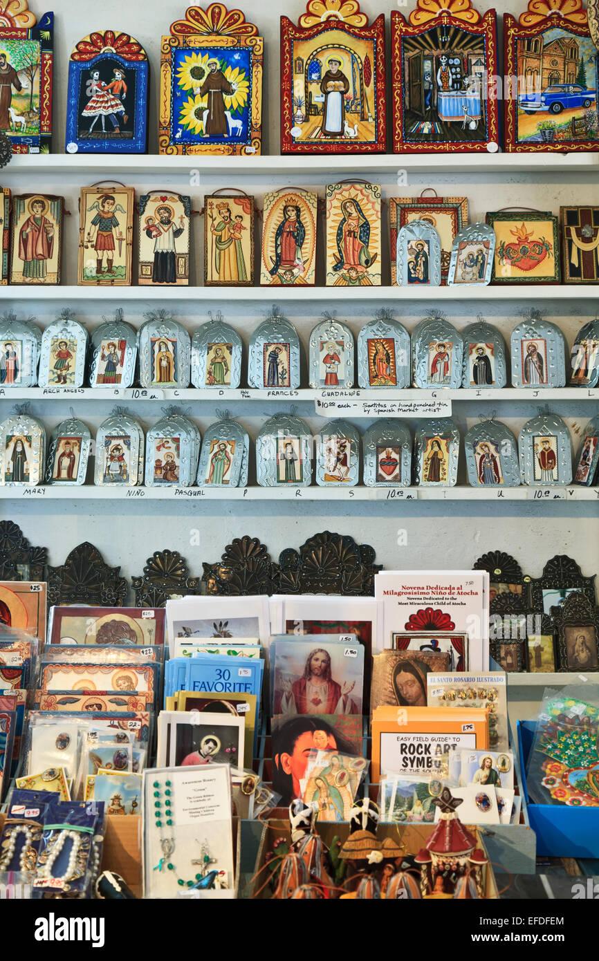 Arte religiosa icone, el potrero trading post, chimayo, Nuovo Messico usa Immagini Stock