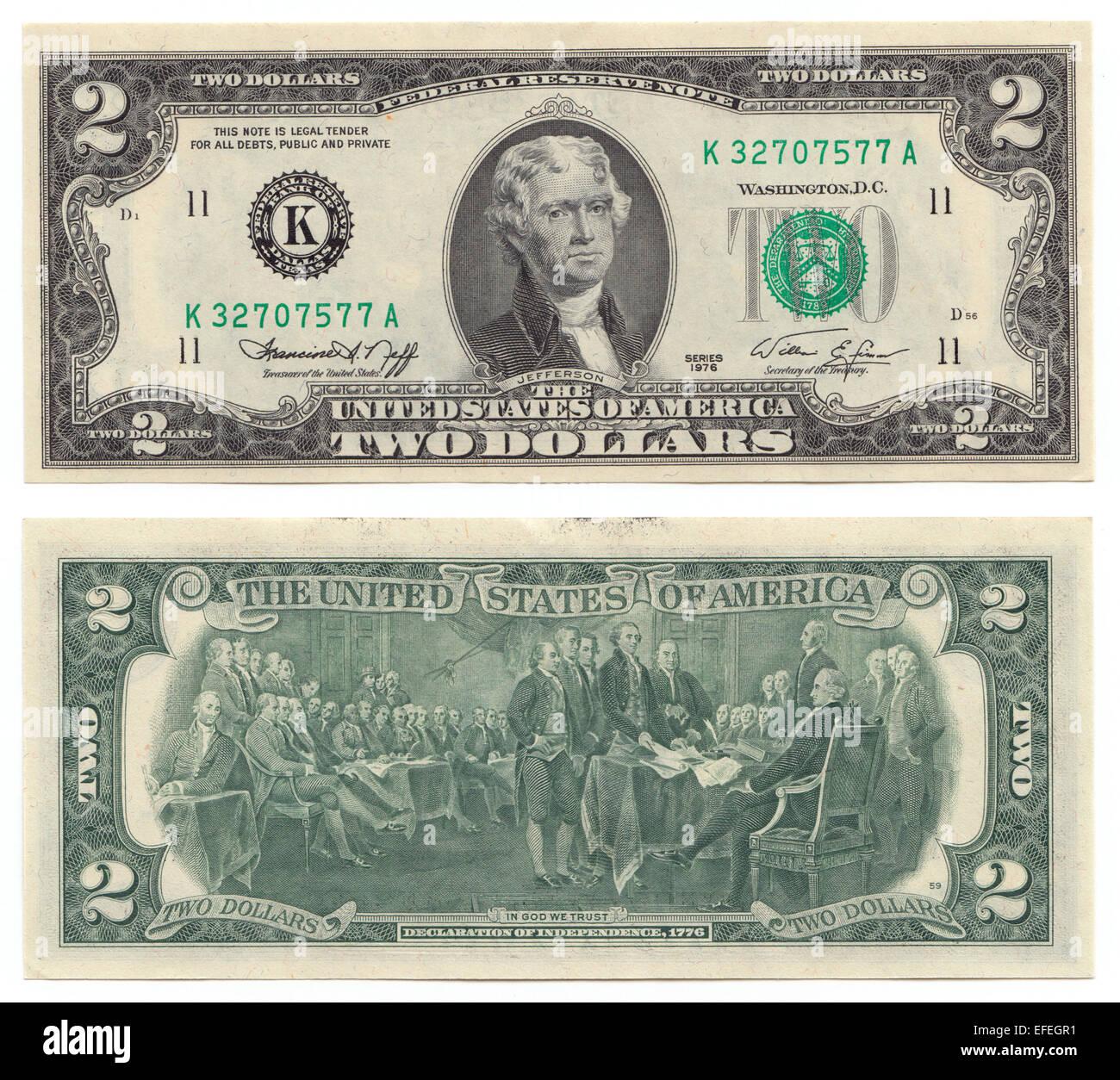 1976 Stati Uniti 2 Dollaro Con Jefferson Sul Lato Anteriore E La Firma Della Dichiarazione Di Indipendenza Sul Retro Foto Stock Alamy