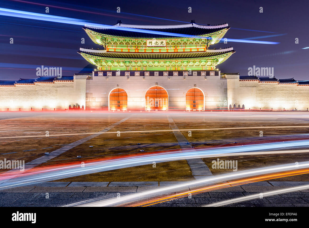 Gwanghwamun gate a Gyeongbokgung Palace a Seul, in Corea del Sud. Immagini Stock