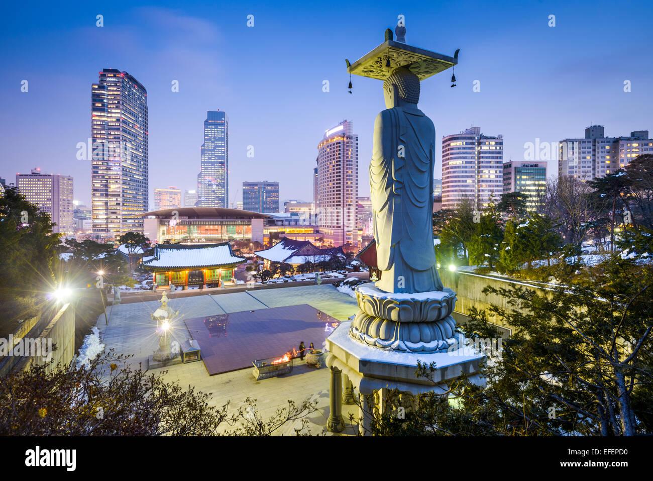 Tempio Bongeunsa nel quartiere di Gangnam di Seoul, Corea. Immagini Stock