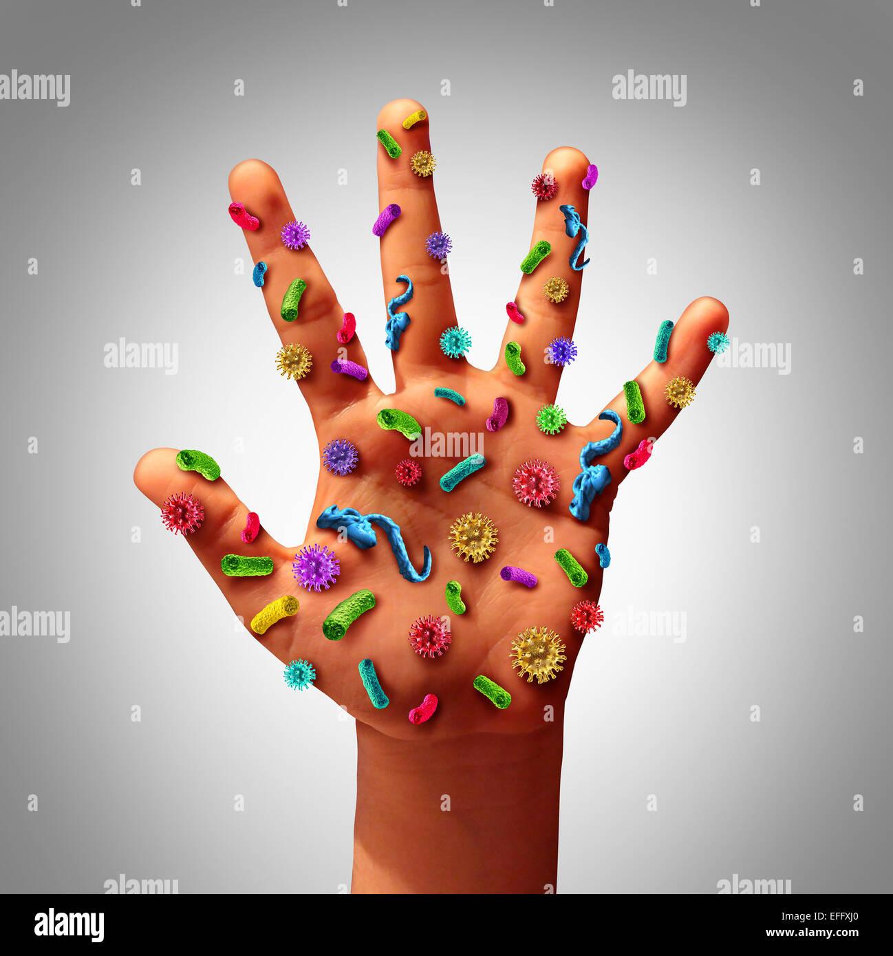 Germi a mano la diffusione della malattia e i pericoli di diffusione della malattia in pubblico come una cura di Immagini Stock
