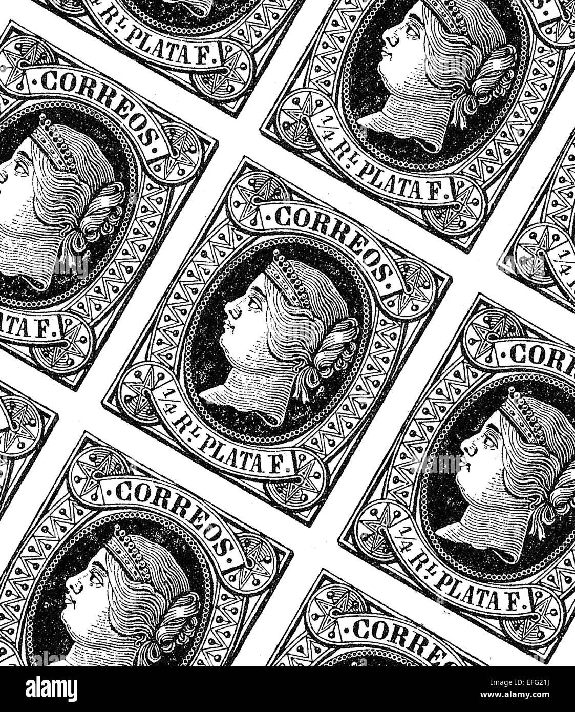 Foglio con francobolli spagnolo del XIX secolo Immagini Stock