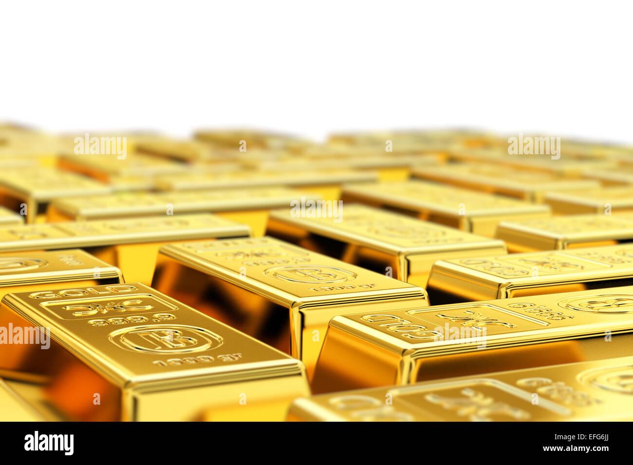 Molti oro bar con profondità di campo Immagini Stock