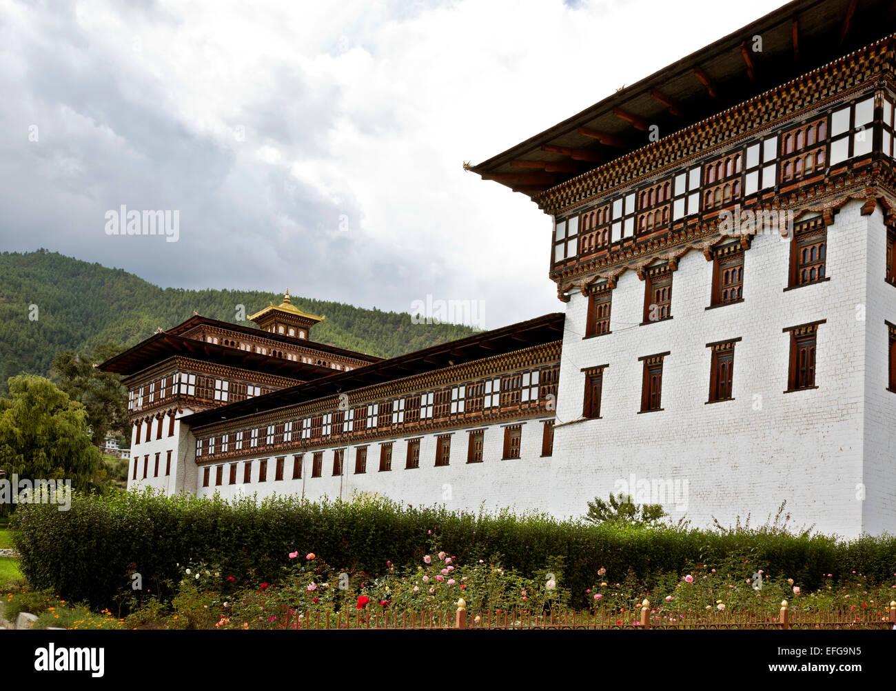 BU00018-00...BHUTAN - Tashichoedzong nella città capitale di Thimphu, centro di governo per il paese. Immagini Stock