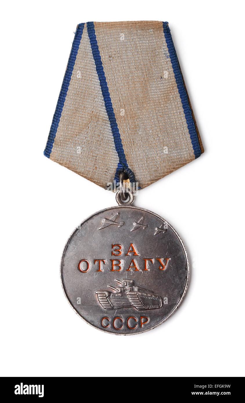 """Medaglia sovietica """" per coraggio' isolato su bianco Immagini Stock"""
