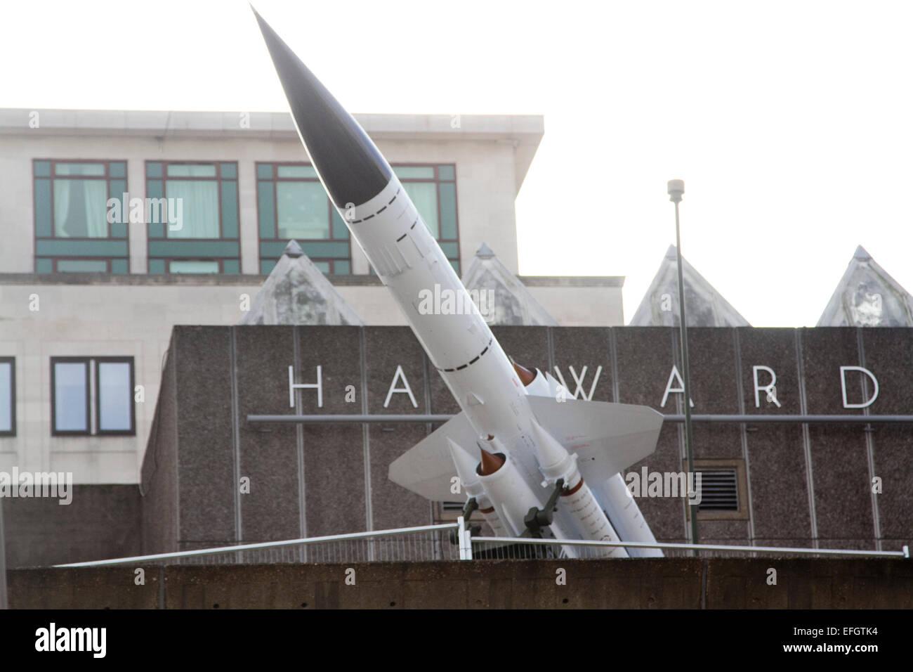 Londra, Regno Unito. 4 febbraio 2015. Una guerra fredda bloodhound lanciamissili creato dall'artista Richard Immagini Stock
