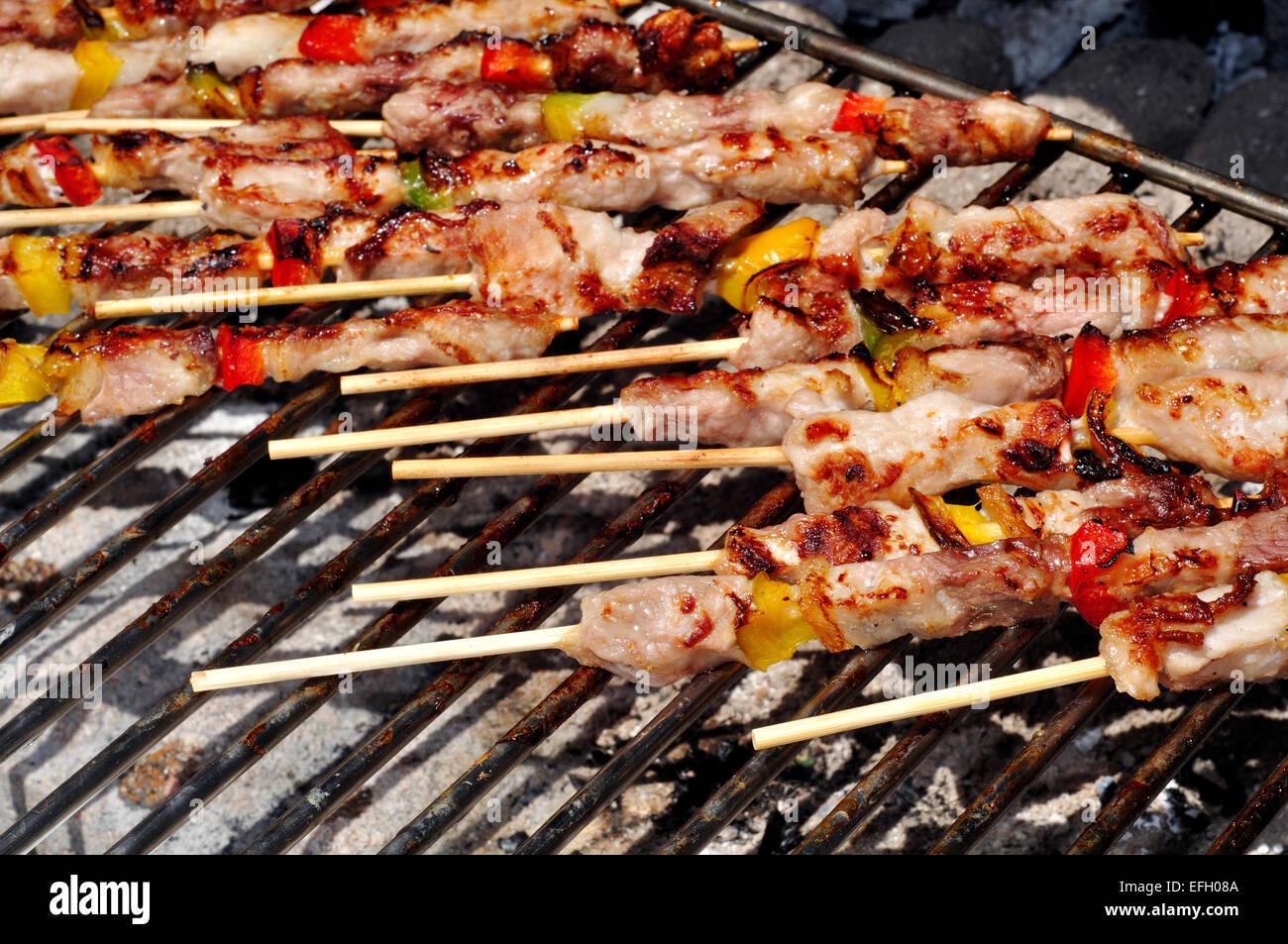 Carne e verdura su Barbecue Immagini Stock