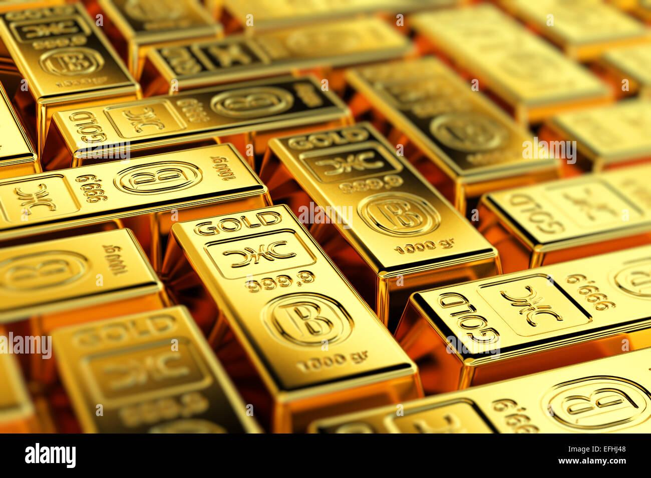 Lingotti d'oro Immagini Stock