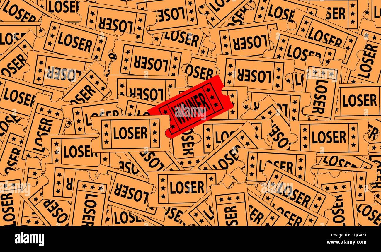 Un mucchio di perdente di biglietti con un solo vincitore sulla parte superiore Immagini Stock