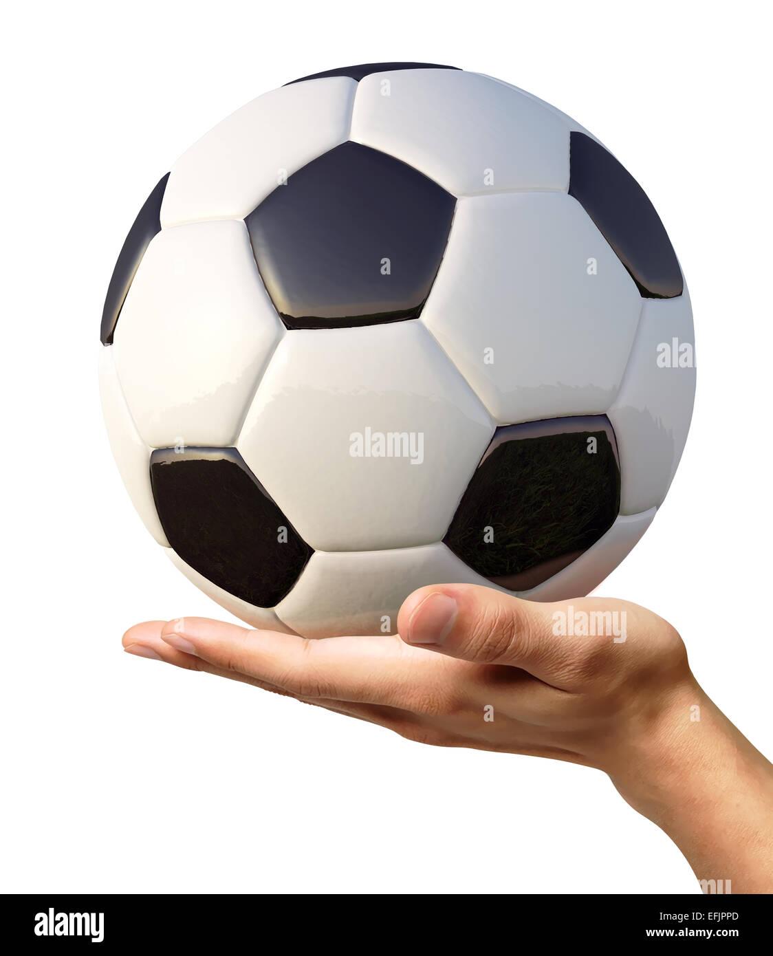 Mano d'uomo in possesso di un pallone da calcio su palm, visto da un lato. Su sfondo bianco. Percorso di clipping Foto Stock