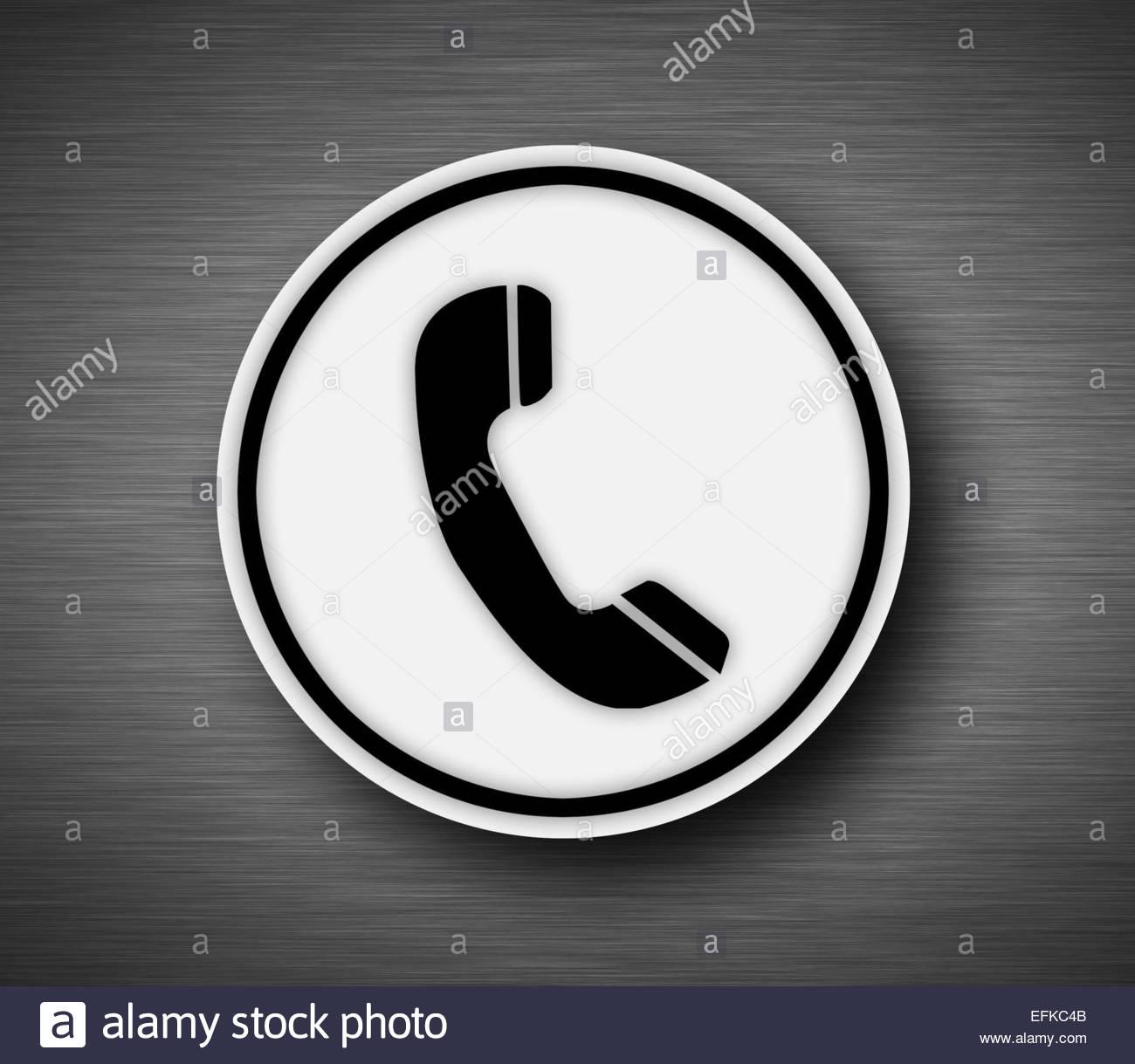Icona del telefono su sfondo metallico Immagini Stock