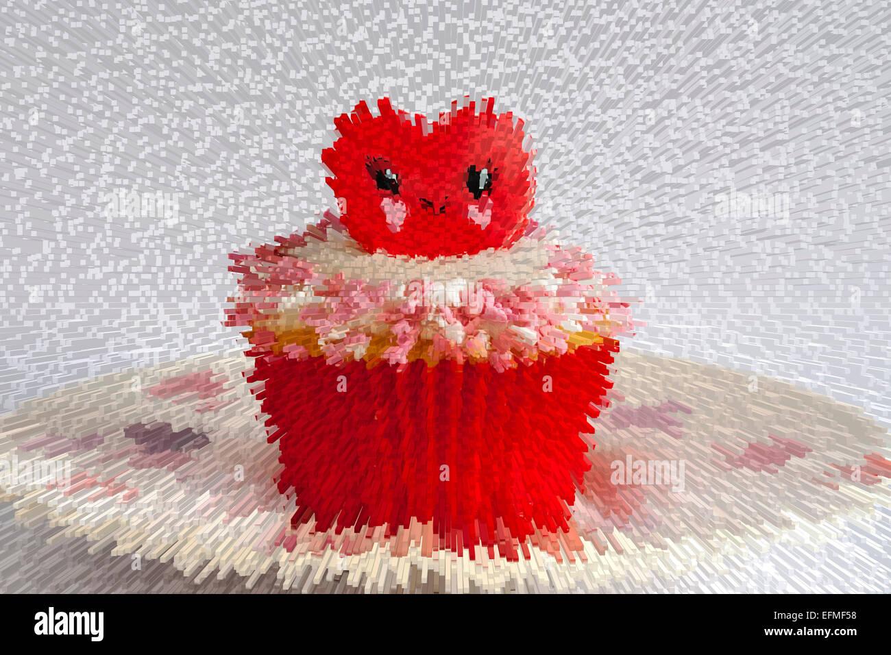 Esplosione di Valentine anello rosso cupcake impostato sulla piastra di cuore - ideale per il giorno di San Valentino, il giorno di san valentino Foto Stock
