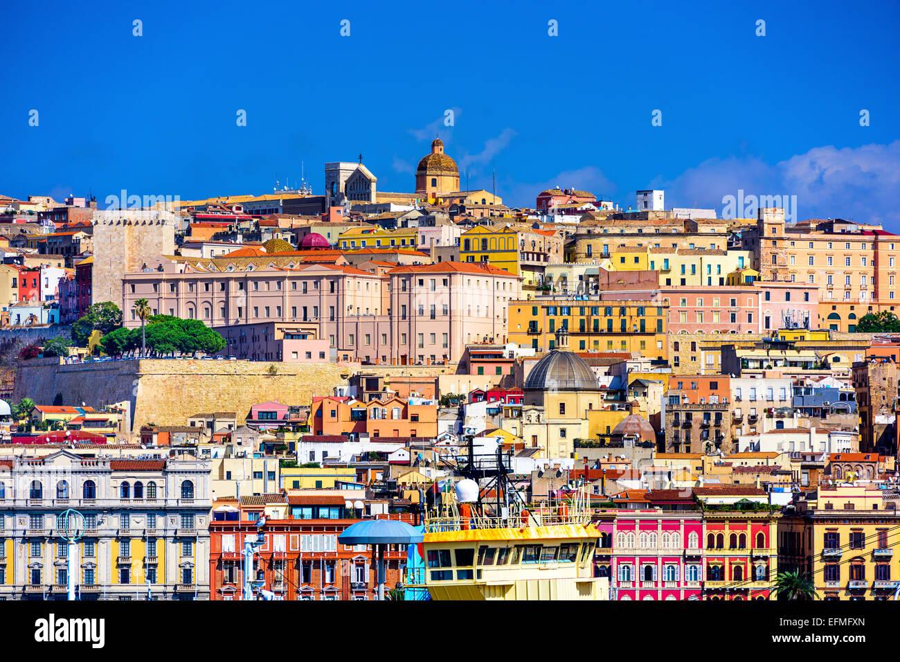 Cagliari, Sardegna, Italia città vecchia skyline. Immagini Stock